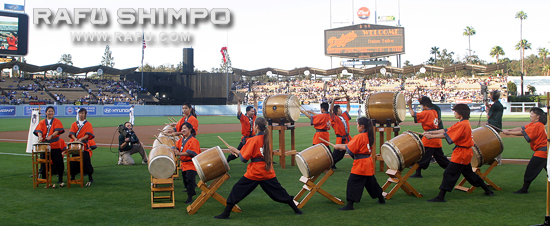Daion Taiko performs in the early evening at Japanese American Community Night at Dodger Stadium on Friday evening at Dodgers Stadium.