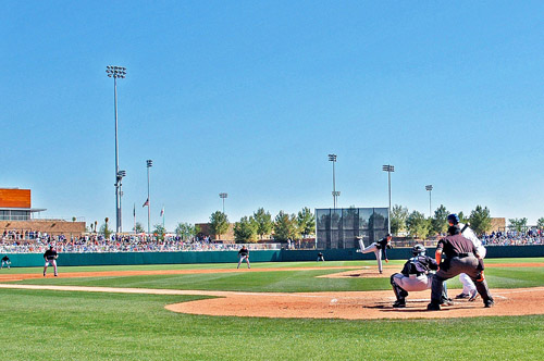 The Los Angeles Dodgers and Seattle Mariners play a Spring Training game on March 7 at Camelback Ranch, the sprawling 141-acre facility that is the new pre-season home of both the Dodgers and the Chicago White Sox.