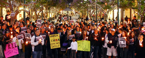 A candlelight vigil is held in Santa Monica on June 3 for journalists Euna Lee and Laura Ling, who were put on trial in North Korea this week.