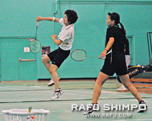 The pair compete in the women's 80+ combined age doubles.