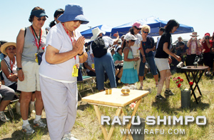Yoshiko Okamoto offers a prayer at the site where 18,000 Japanese Americans were interned during World War II.