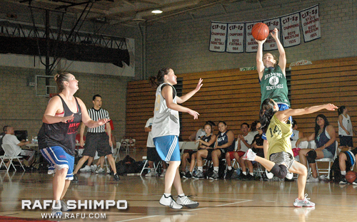 Knightriders guard Monica Tokoro takes a shot during the Women's AA division championship game at Whittier High School. Knightriders outlasted PTPers to win the division title. (Photo by MIKEY HIRANO CULROSS/Rafu Shimpo)