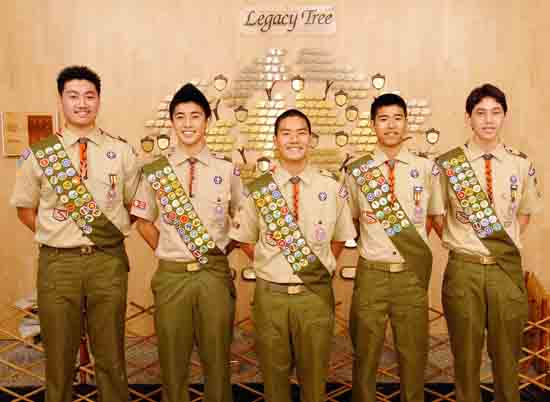 Venice Japanese Community Center Troop 764 Eagle Scouts, from left, Sean Nakamoto, Todd Matsumoto, Alex Ito, Gregory Yamaguchi and Ryan Cohen.