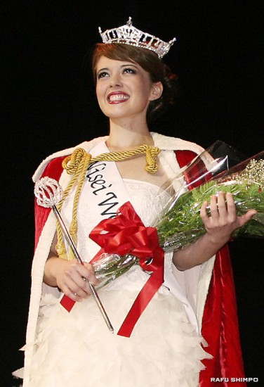 Heatherton walks the stage at the Japan America Theatre after being crowned Saturday evening.