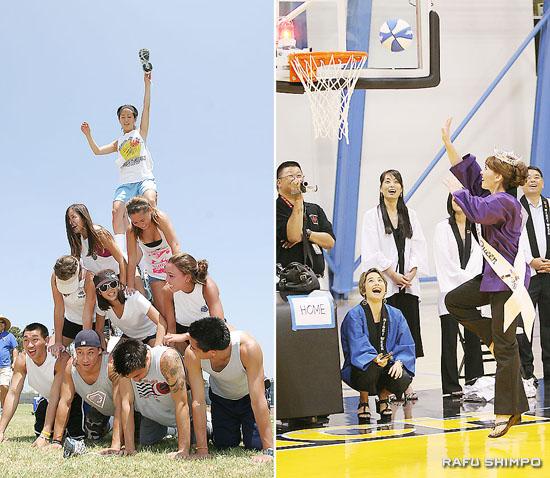 【写真左】親睦運動会の人間ピラミッド【写真右】バスケットボール大会の開幕式で、得意のドリブルシュートを披露する2009年度女王のデイナ・ヘザートンさん