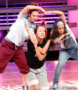 From left, Ali, Hiroka and Mami practice their dance for the Beyonce Challenge during week two of ABDC.