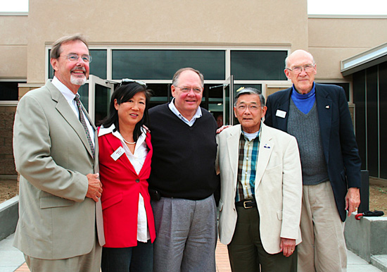 Standing in front of the Heart Mountain Wyoming Interpretive Learning Center are, left, Douglas Nelson; Shirley Higuchi, Dave Reetz, Norman Mineta, and Alan Simpson. The new center is two-thirds completed.