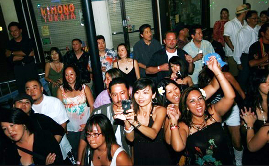 Revelers gather at Japanese Village Plaza last month for a fundraiser last month for DJ Hideo and Budokan of Los Angeles.