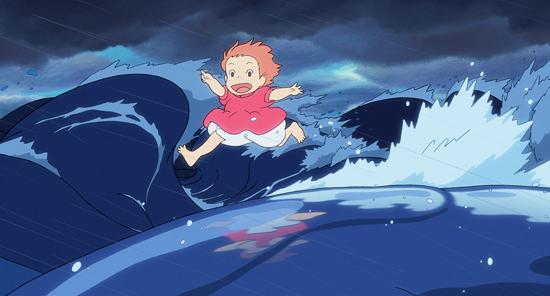 The goldfish-turned-little-girl Ponyo runs atop thundering waves in Hayao Miyazaki's latest film, opening nationwide on Friday. (Disney/Nibariki-GNDHDDT)