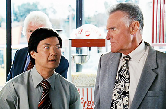 "Teddy Dang (Ken Jeong) is confronted by a deranged car salesman (Charles Napier) in ""The Goods: Live Hard, Sell Hard. (Courtesy of Paramount Vantage)"
