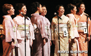"""The Nisei Week Court sings """"Nada Sou Sou"""" during the coronation."""