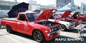 Winner of the Showoff Car Show will get $1,000 and a 6-foot trophy. (Photo by AYAME KOUSAKA/Rafu Shimpo)