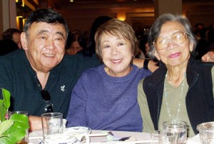 Photographed here from left: Bob Takasugi, Dodie Takasugi and Nancy (Kumasaki) Soo Hoo, circa 2001.