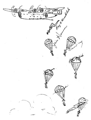 Prisoner artist's sketch of Duck Team parachutists autographed by the seven liberators. Nagaki was the second jumper.