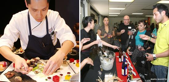 【写真左】創作すしを仕上げるヒュン・ミン・スウさん【写真右】共同貿易の地酒試飲会