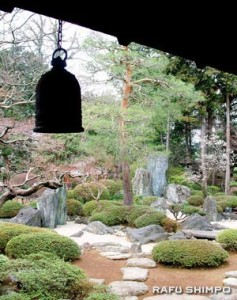 A tranquil view of the garden at the Kitain Temple, birthplace of the third Tokugawa Shogun, in Kawagoe, Saitama Prefecture.