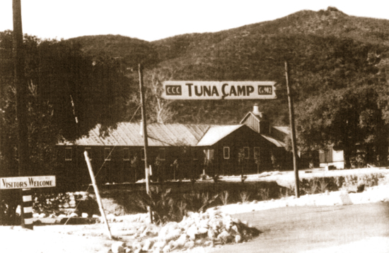 "The La Tuna Canyon Civilian Conservation Corps camp was built in 1930s. The Immigration and Natural Service took over the buildings in 1941 and opened the Tuna Canyon Detention Center in order to detain the ""enemy aliens,"" including over 2,000 Japanese men, during the war. (Courtesy of Little Landers Historical Society)"