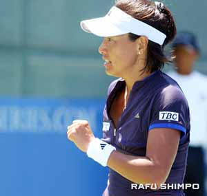 Kimiko Date Krumm celebrates a match point at the LA Women's Open in July. Date Krumm lost in three sets in Tokyo Monday, Sept. 28, one day after winning her first title in 13 years at the Hansol Korea Open Sunday, Sept. 27.