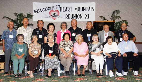 Seventeen former internees who have attended all 11 Heart Mountain camp reunions pose for a group photo at the Heart Mountain Reunion held in Las Vegas last month. The first reunion was held in 1982. (Photos courtesy of Heart Mountain Reunon Committee)