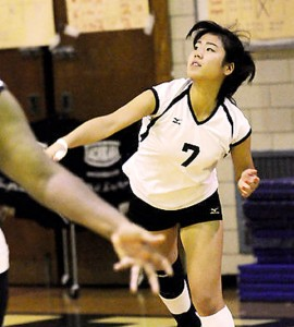 Hikari sewed up Lewis' third division title in a row with her game-winning ace Thursday. (Courtesy of Damion Reid)