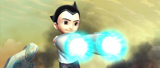 Astro Boy, voiced by Freddie Highmore, demonstrates that neither he nor the new film that opens tomorrow suffer any shortage of firepower. (Images courtesy of Summit Entertainment)