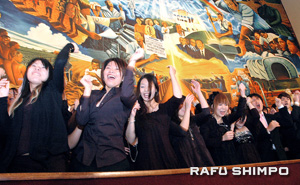 Most of the choir's 120 members, from Tokyo, Osaka, Nagoya and Fukuoka, are in the late teens or early 20s.