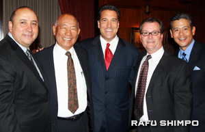 From left, UCLA athletic director Dan Guerrero, former Cal State University Dominguez Hills head basketball coach Dave Yanai, former UCLA head coach and current ESPN analyst Steve Lavin, CSUDH athletic director Patrick Guillen and ABC 7 sports anchor Rob Fukuzaki pose for a picture during a gala dinner in honor of Yanai Sunday evening.