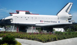 Visitors to NASA can step inside a full-sized replica of a space shuttle.
