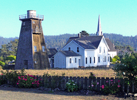 One of the views from the front garden of the Headland's Inn in Mendocino is this iconic church with its backyard water tower. (Photos Courtesy of NJ Nakamura)
