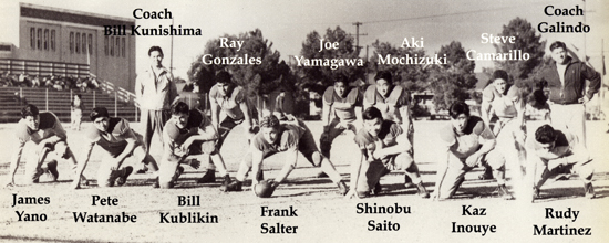 """While he only got to play for a short time, Joe excelled at football. In this picture, Joe takes the backfield as the starting fullback for the 1939 Roosevelt High School """"B"""" Football Team. Joe recalls a series of downs where every member of the Rough Riders in the game was a Nisei."""