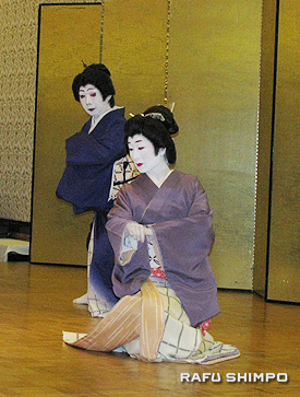 若柳久三師と若柳久女師による日本舞踊、清元「吉原雀」