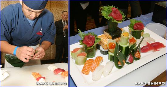 すし職人コンテストで優勝した台湾出身のジーン・スーさん(左)と金賞作品