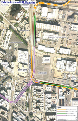 An overhead view of Little Tokyo shows the new proposed alignment for the Metro Regional Connector. (Courtesy of METRO)