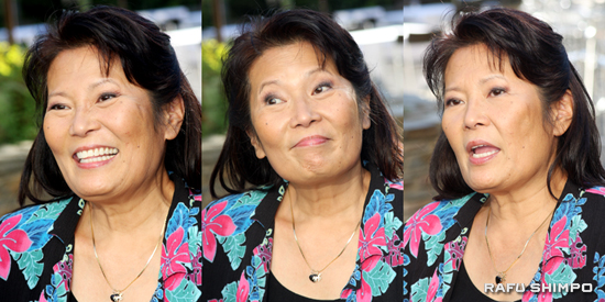 """Jude Narita relaxes in the gardens at the Kyoto Grand Hotel on Nov. 17. The artist and actress returns to the Southern California stage this weekend with """"Jude Narita and Friends."""" (Photos by MARIO G. REYES/Rafu Shimpo)"""