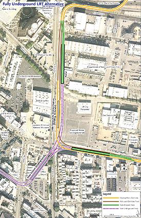 メトロから発表された代替案構想。2街とアラメダ通りにあるオフィスデポの地下に接続駅を新設する内容(写真=メトロ提供)