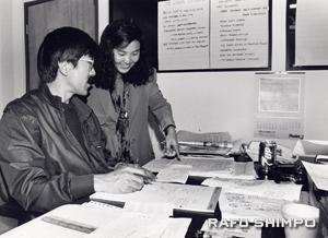 Hirahara, right, and former Rafu Shimpo Japanese Editor Yukikazu Nagashima working together.