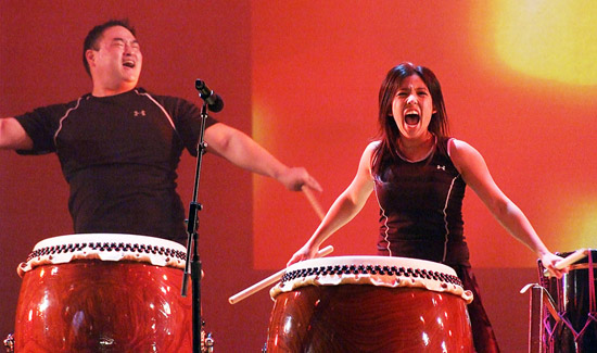 TaikoProject will bring their energetic style of drumming to the annual Christmas Eve celebration at the Dorothy Chandler Pavilion. (Photo by Ed Krieger)