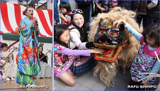 子どもたちに大人気の獅子舞(写真右)と松豊会による民謡(同左)