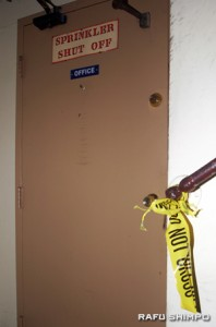 The closed door of the Chetwood Hotel manager's office, where Oyama was found injured and bleeding.
