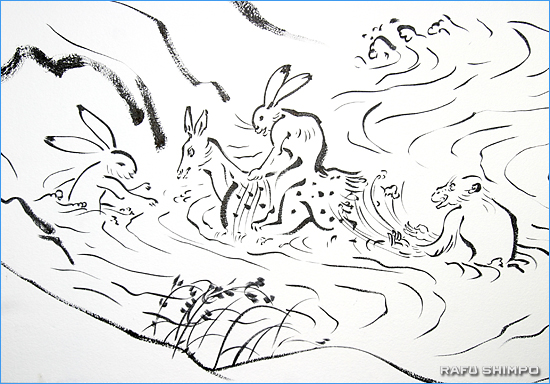 鳥獣人物戯画は、さまざまな獣が登場する