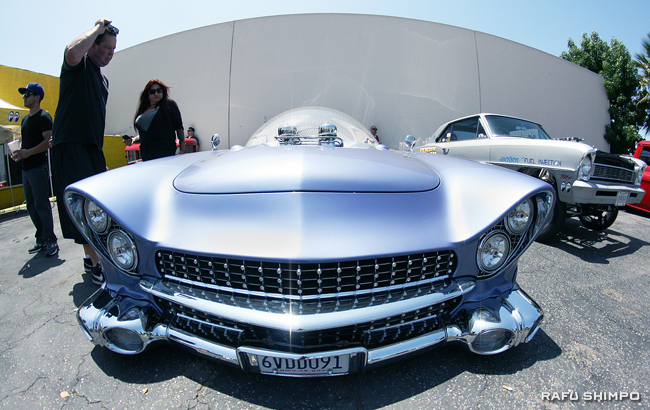 "Gary ""Chopit"" Fioto's multiple award-winning 1955 Ford Custom ""Beatnik Bubbletop,"" fitted with a spaceship-style glass dome."