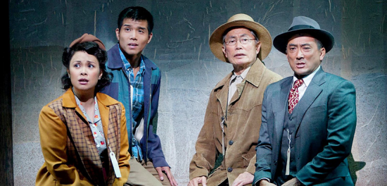 "Lea Salonga, Telly Leung, George Takei and Paul Nakauchi in a scene from ""Allegiance,"" which premiered at the Old Globe Theatre in San Diego in 2012."