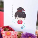 Say arigato with a letterpress kokeshi doll card from Arcadia's Sharon Maruya Shin. (Courtey Papermum Press)