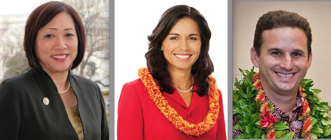 From left: Rep. Colleen Hanabusa, Congressmember-elect Tulsi Gabbard, Lt. Gov. Brian Schatz.