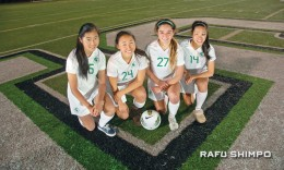 South High has gone heretofore unbeaten this season, thanks to team cohesion and plenty of senior experience. Above from left: Sayaka Ueda, Momoko Kaneda, Jessica Nakae and – sporting a nice shiner from a previous match – Anju Takei. (MIKEY HIRANO CULROSS/Rafu Shimpo)
