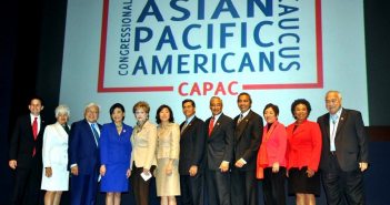Members of the Congressional Asian Pacific American Caucus at an APA Heritage Month ceremony held May 8 at the U.S. Capitol on May 8 (from left): Sen. Brian Schatz, Rep. Grace Napolitano, Rep. Mike Honda, Rep. Judy Chu, Rep. Madeleine Bordallo, Rep. Grace Meng, Rep. Xavier Becerra, Rep. Bobby Scott, Rep. Ami Bera, Rep. Colleen Hanabusa, Rep. Barbara Lee, Rep. Eni Faleomavaega.
