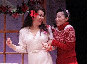"""He makes a mean cherry coke!"" Annelle (Lovelle Liquigan, right) shares her excitement about her new boyfriend with Truvy (Hiwa Bourne). (Photo by Michael Lamont)"