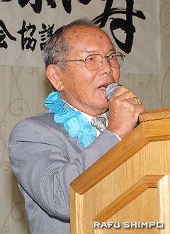 受賞者を代表し、謝辞を述べる川口吉則さん