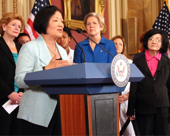 Sen. Mazie Hirono of Hawaii joins other Democratic women senators in denouncing efforts to defund Obamacare.