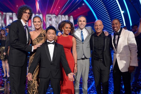 """America's Got Talent"" winner Kenichi Ebina (foreground) with (from left) judges Howard Stern, Heidi Klum and Mel B; runner-up Williamson; judge Howie Mandel; and host Nick Cannon. (NBC)"